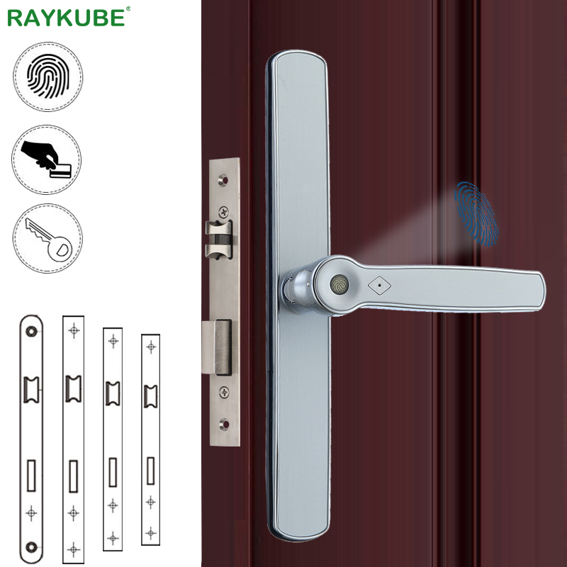 RAYKUBE Fingerprint Door Lock Biometric Smart Door Lock With IC Card Mortise Lock For Broken Bridge Sliding Door Universal