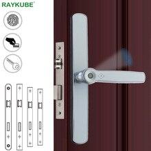 RAYKUBE serratura per impronte digitali serratura per porta intelligente biometrica con serratura da infilare per scheda IC per porta scorrevole a ponte rotto universale