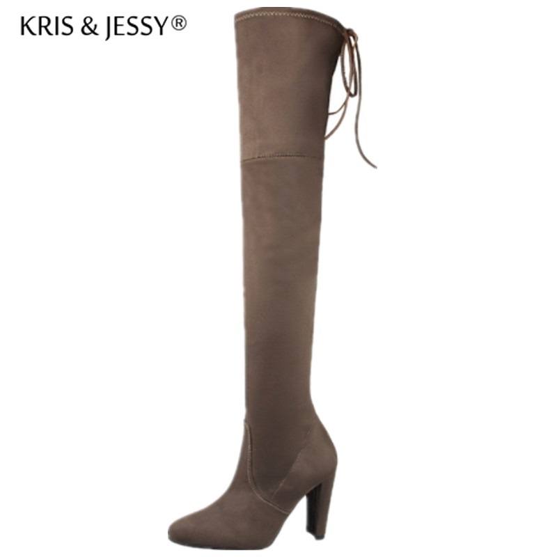 Faux Suede Slim Boots Sexy Over The Knee High Women Snow Boots Thick Heel Winter Thigh High Boots Shoes Woman women over the knee boots black velvet long boots ladies high heel boots sexy winter shoes chunky heel thigh high boots
