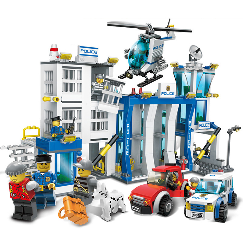 kazi city police station swat helicopter speedboat diy model building kits education toys for children festival gift for friends KAZI Police Station Building Blocks 870pcs Bricks Helicopter Motorcycle DIY Model Educational Toys For Children Gifts