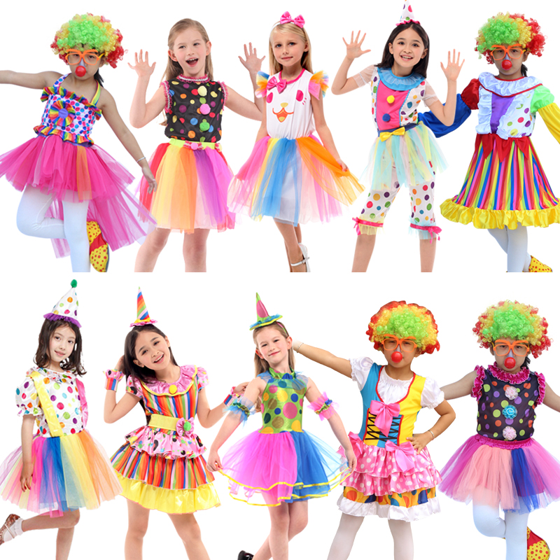 Free Shipping Clown Costumes Kids Children Circus Clown Costume Fancy Fantasia Infantil Cosplay for Boys Girls Party Dress Up