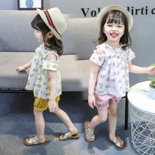 Summer Baby Girls Clothes Off-shoulder Pineapple Print T-shirt Tops+Shorts Suits Casual Kid Clothing Sets 2019 недорого