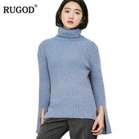 RUGOD Moda Solidna Kobiety Swetry I Pulowery Flare Rękaw Sweter Z Golfem Dla Kobiet Dorywczo Elastyczne Pull Femme