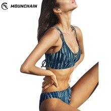 Brazilian Women Swimsuit Dot Printing Straps Hollow Out Bikini Bra Shorts