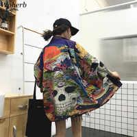 Woherb été japonais Harajuku Kimono crâne imprimé Vintage Blouse crème solaire Yukata Cardigan veste femmes et homme chemise 21300
