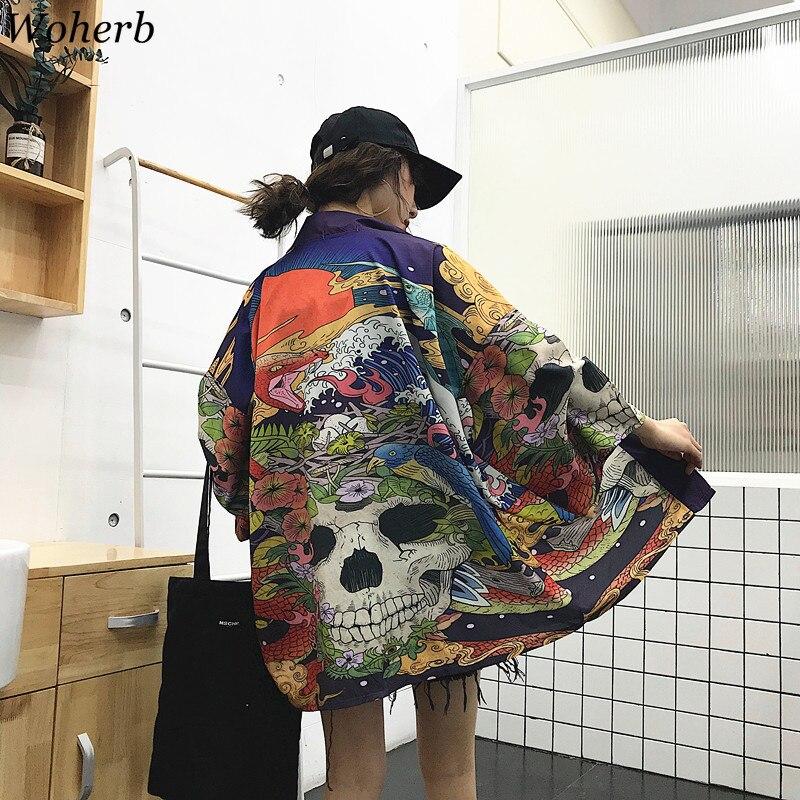Woherb Summer Japanese Harajuku Kimono Skull Print Vintage   Blouse   Sunscreen Yukata Cardigan Jacket Women and Man   Shirt   21300