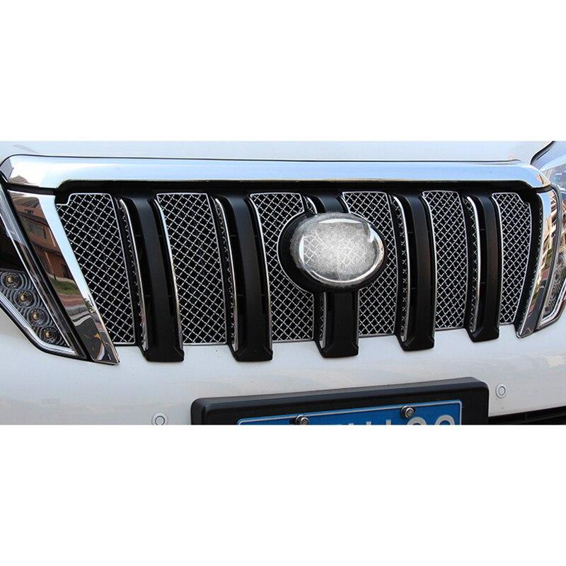 Voiture en acier inoxydable Grille avant décoration couverture garniture autocollants 6 pièces/ensemble pour Toyota Land Cruiser Prado J150 FJ150 2014 2015 2016