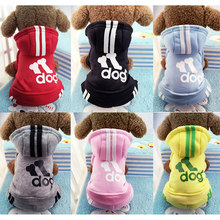Winter Warm Pet Dog Clothes Soft Cotton Four-legs Hoodies Outfit For Small Dogs Chihuahua Pug Sweater Clothing Puppy Coat Jacket(China)