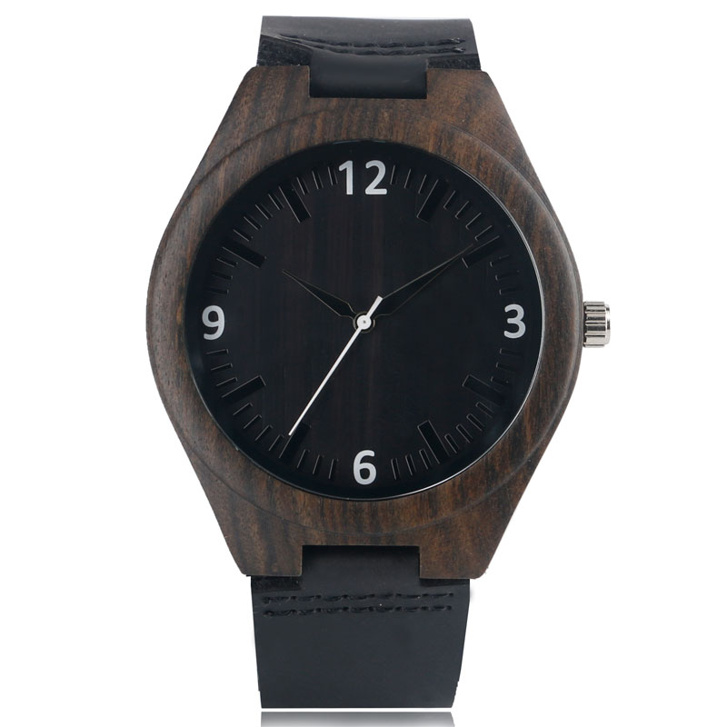 Creative Black Face Unique Nature Wood Women Gift Fashion Handmade Men Genuine Leather Band Strap Bamboo Wrist Watch simple handmade wooden nature wood bamboo wrist watch men women silicone band rubber strap vertical stripes quartz casual gift page 2