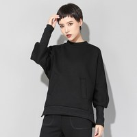 Spring clothes 2019 plus size tshirt women black vintage batwing long sleeve round neck pockets casual tops vogue streetwear