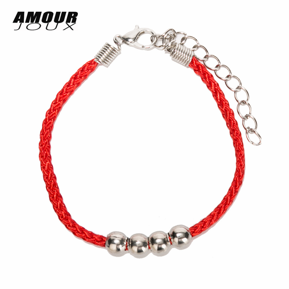 Lucky Red Black Thread Amulet String Silver Color BCharm Chain Bracelets For Women With ExtenFriendship Rope Bracelet