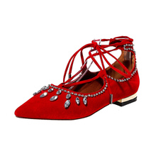 MAVIRS 2017 Summer Brand New Large Size Women Flats Footwear Crystal Low Heel Casual Shoes Black Red Blue Female Shoes