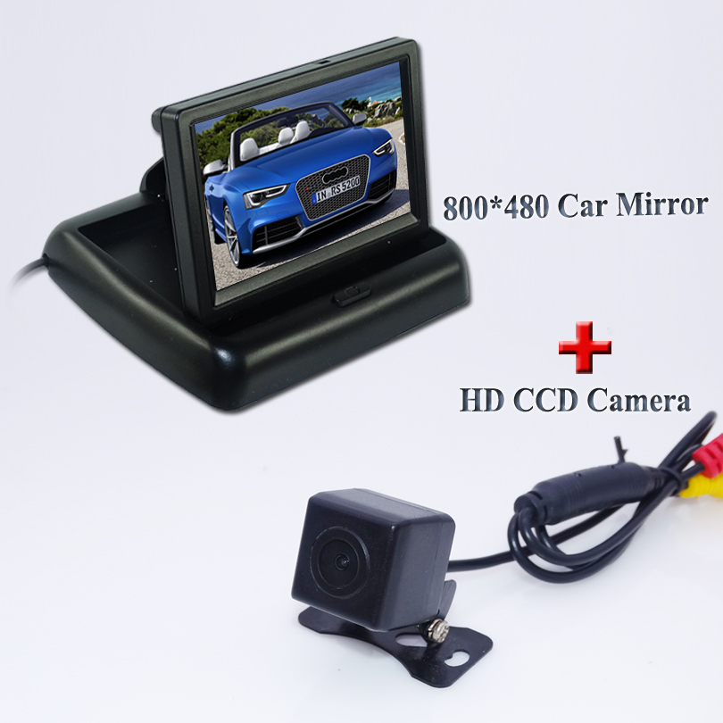 2 In 1 Parking Assistance System 4.3 Inch TFT LCD Car Reverse Rearview <font><b>Monitor</b></font> + HD CCD Car Rear View Camera