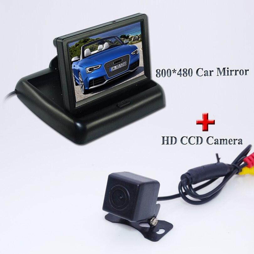 2 en 1 aide au stationnement système 4.3 polegada TFT LCD voiture arrière caméra de marche arrière + HD CCD voiture caméra de recul