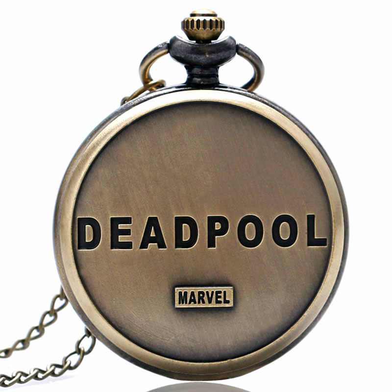 YISUYA Deadpool Marvel Steampunk naszyjnik zegarek kieszonkowy kwarcowy naszyjnik czarny/złoty dzieci dzieci mężczyźni chłopiec prezent