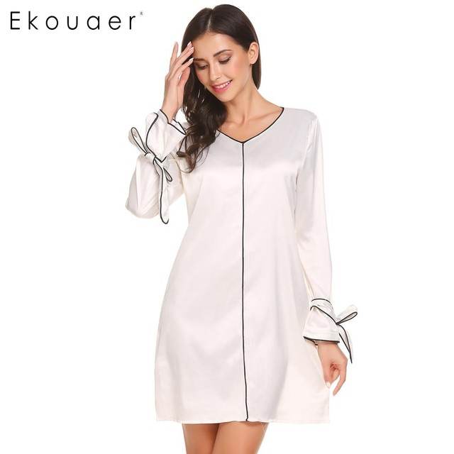 Ekouaer Nightgown Casual Women V Neck Nighties Sleepwear Dress With ...