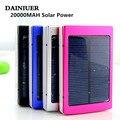Banco energia solar 20000 mah dual usb led carregador processo de backup de bateria do telefone para xiao mi banco do poder externo 20000 mah