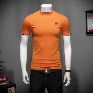 Image 4 - Outono branco t camisa 5xl 2019 nova moda designer masculino camisetas 4xl meia gola alta manga curta roupas elegantes #504