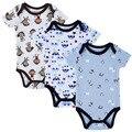 2016 de manga curta de moda verão babadores Casual Roupa Crianças Jumpsuit recém-nascido roupa para o Corpo Bebês Meninos do bebê