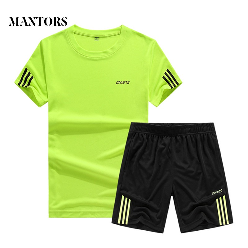 2019 New Casual Men Short Sets Summer Solid Stripe Tracksuit Two Piece T-shirts+Shorts Mens Sportswear Jogger Slim Fit Sportsuit