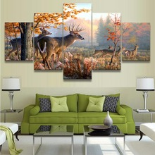 HD Print Animal Paintings Wall Art Deer Fall Forest Home Decor Modern Wall Decor Canvas Painting Canvas Room 5 Piece Artwork