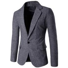 Новое поступление, мужская куртка, повседневная, однотонная, на одной пуговице, с длинным рукавом, пиджак, пиджак, блейзер, мужские куртки и пальто