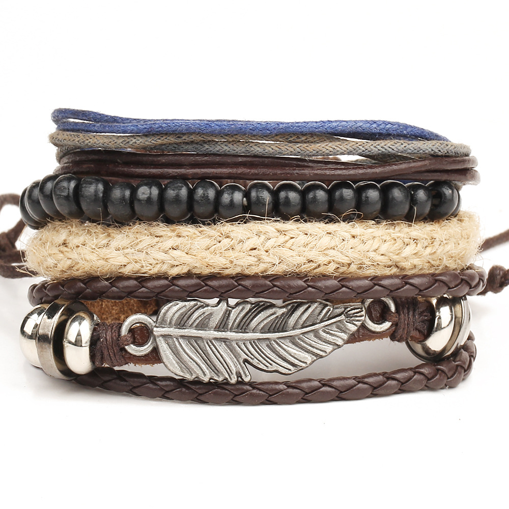 Punk Multi Layer Diy Braided Leather Cord Bracelet Retro Metal Feather Wood  Beaded Bracelets For Male Boy Cool Wristband Bijoux