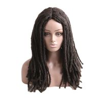 Luxury For Braiding 18inch #1 #4 Black Brown Mixed Color Kinky Curly Synthetic Dreadlocks Wig for Cosplay Daily Wear