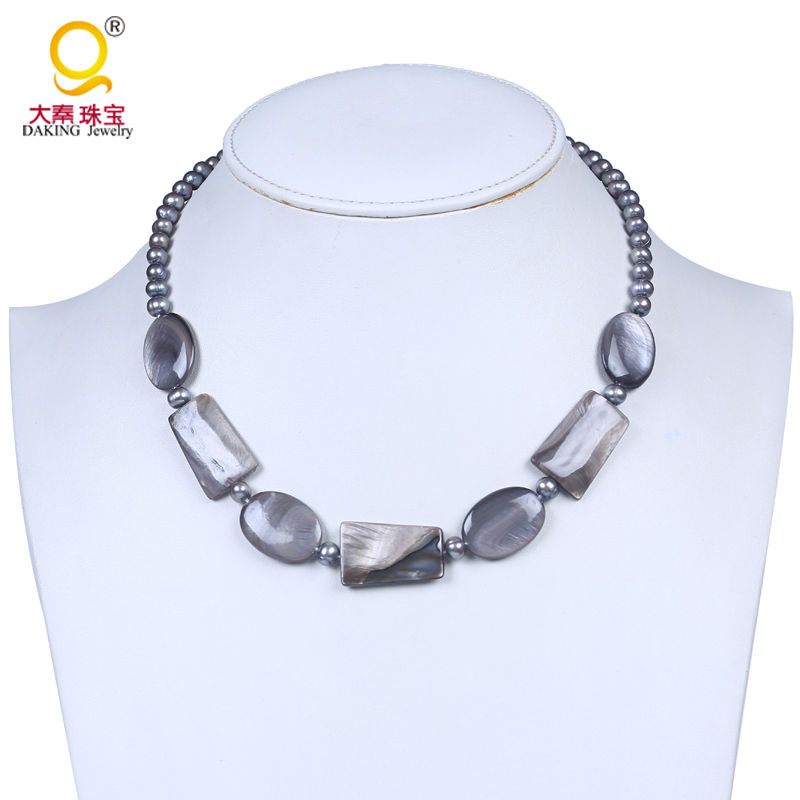 9d631aa4a0682 US $9.57 13% OFF|Quality luster gray freshwater pearl beaded necklace  mother of pearl necklace smooth geometric shape shell bead jewelry-in  Choker ...