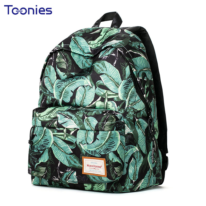 New Fashion Women Backpack Leaves Printing School Bags For Teenagers Girls Travel Laptop Backpacks Cute Rucksack School Bags tcttt new 2016 travel bag women laptop backpacks girl brand rivet backpack fashion chains knapsack school bags for teenagers