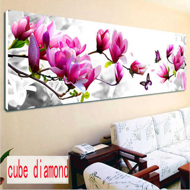 New DIY 5D Diamond Mosaic magic cube round Diamond Painting Cross Stitch Diamond Embroidery Home Decor Butterfly Magnolia flower