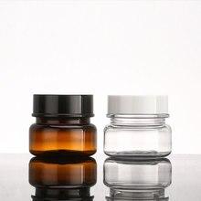 60 gam X 24 Mạnh Mẽ Hơn PET Jar Mũ Vít Rỗng Kem Container Nhựa Rõ Ràng Brown Mỹ Phẩm Nồi Kem Lọ Trang Điểm chai 2 oz