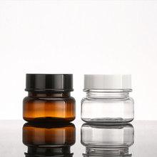 G X 24 60 Forte PET Jar Creme Recipiente De Plástico Tampas de Rosca Vazio Limpar Brown Pote Potes De Creme Cosmético Maquiagem garrafas 2 oz