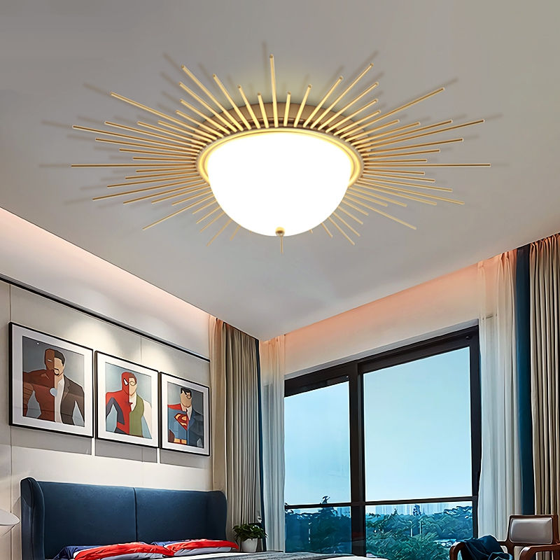 US $142.43 35% OFF|Warm Sun Lights Bedroom Ceiling Lamps Living Room  Crossover Lamps American Flush Mount Ceiling Light Decor Home Led Solar  Light-in ...