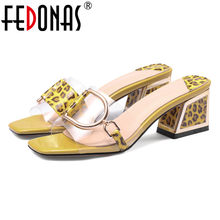 FEDONAS Leopard Totem Summer Sexy Sandals Women New Fashion Square High Heels Prom Party Shoes Woman Rome Style Elegant Sandals(China)