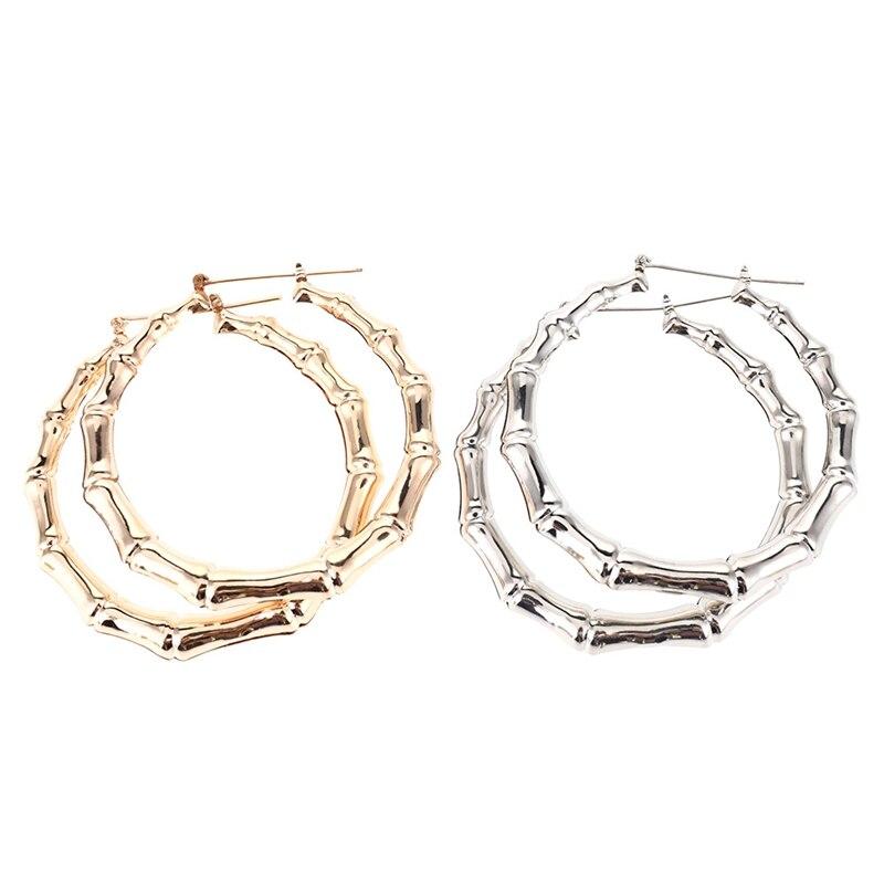1/paar Neue Ankunft Trendy Bambus Hoop Ohrringe Frauen Weibliche Gold Silber Farbe Farbe Klassische Schmuck Geschenke Können Dropshipping Schnelle WäRmeableitung