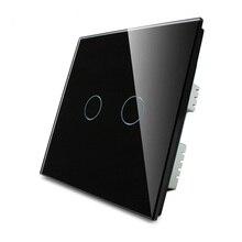 Home automation livolo touch-schalter, 2 gang 1 Wand Lichtschalter, Kristallglas Switch Panel UK standards Touchscreen