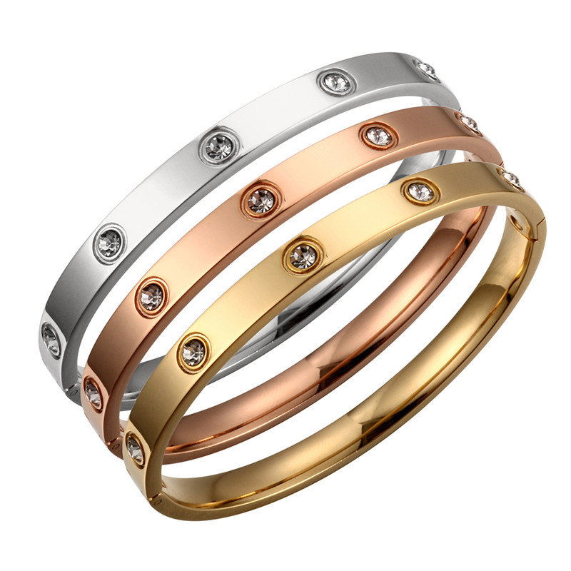 Gold Plating Lover Bracelets&Bangles for Women Rose Gold Color Stainless Steel Charming CZ Cuff Bracelet Luxury Jewellery Gift