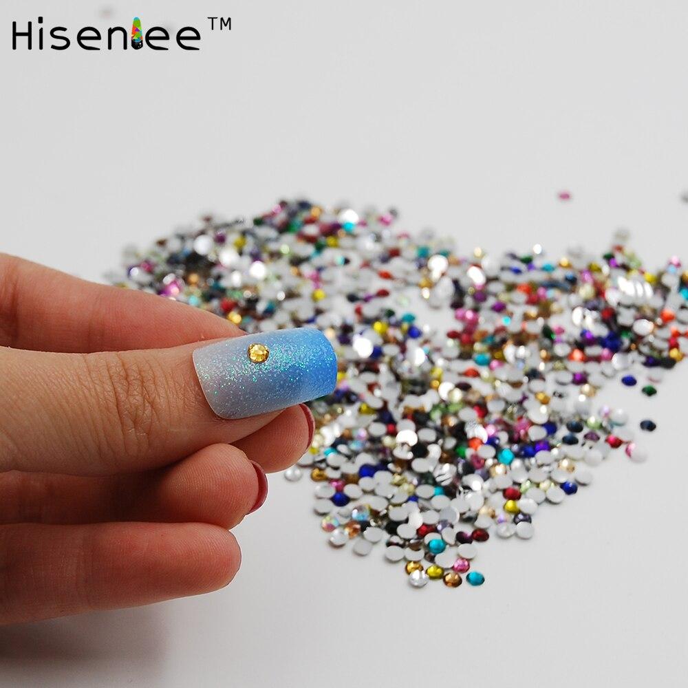 2mm 1000pcs Mixed Color Round Acrylic Glitter Nail Rhinestone Nail