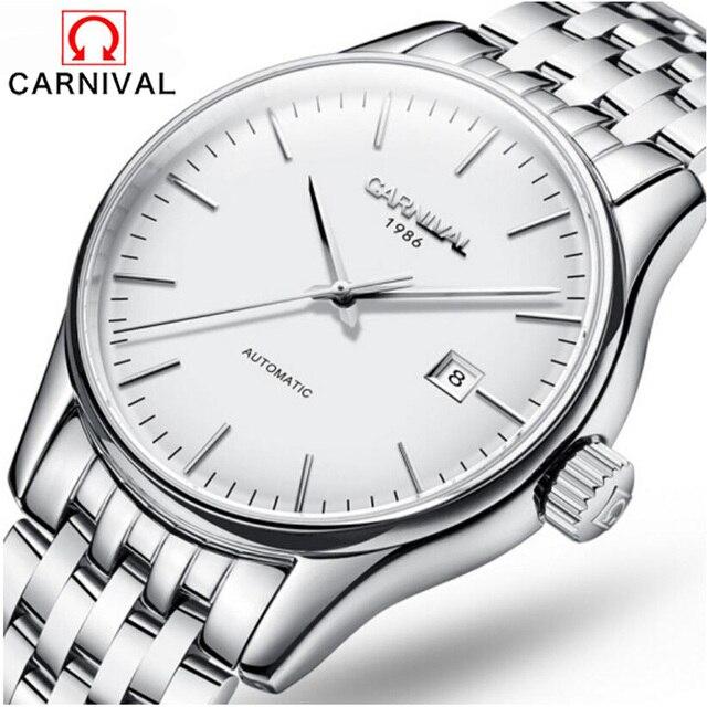 0cf0a777bd6 Carnaval Relógio de Marca de luxo Homens Casual Masculino Relógios  mecânicos Automáticos de Negócios Calendário Relógio