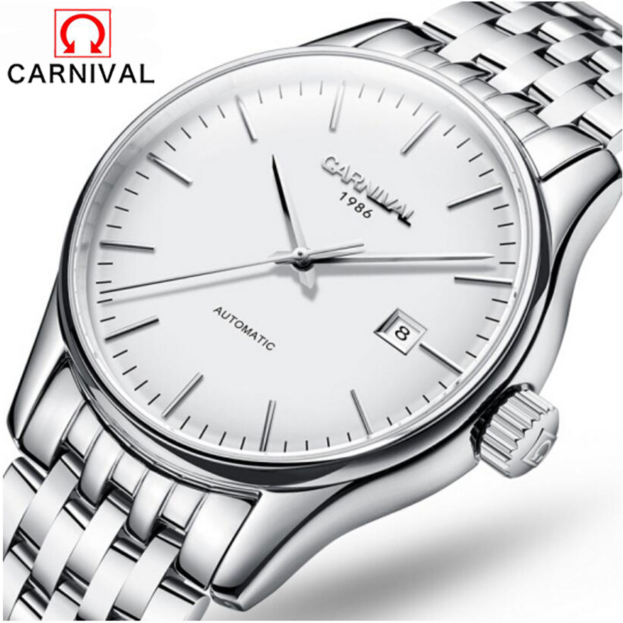 где купить Luxury Brand Carnival Watch Men Casual Male Automatic mechanical Watches Business Calendar Silver Stainless Steel Watch hombre по лучшей цене
