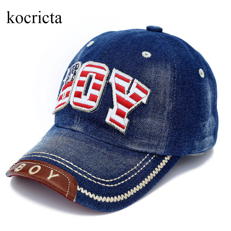 Barn Boys Baseball Cap Sommar Toddler Barn Dad Hat Jean Casual Hip Hop Letter Denim Sun Snapback Casquette Blue