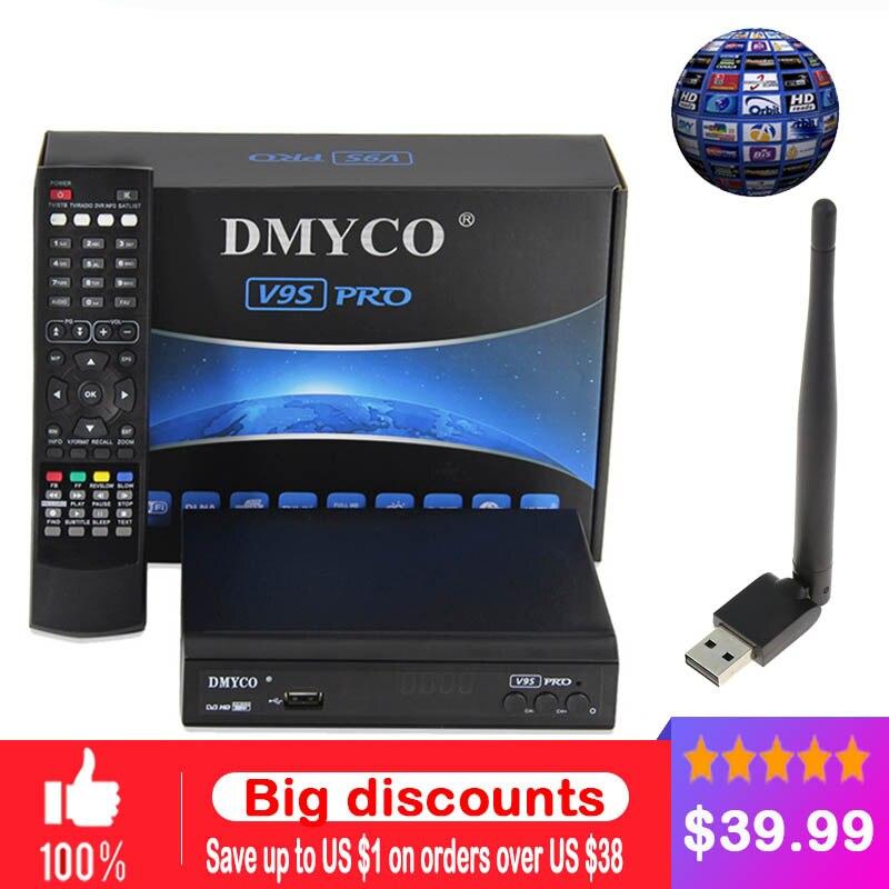 DMYCO 1 an code Europe code véritable V9S DVB-S2 aléa récepteur Satellite prise en charge full HD décodeur de clé powervu biss + USB WIFI