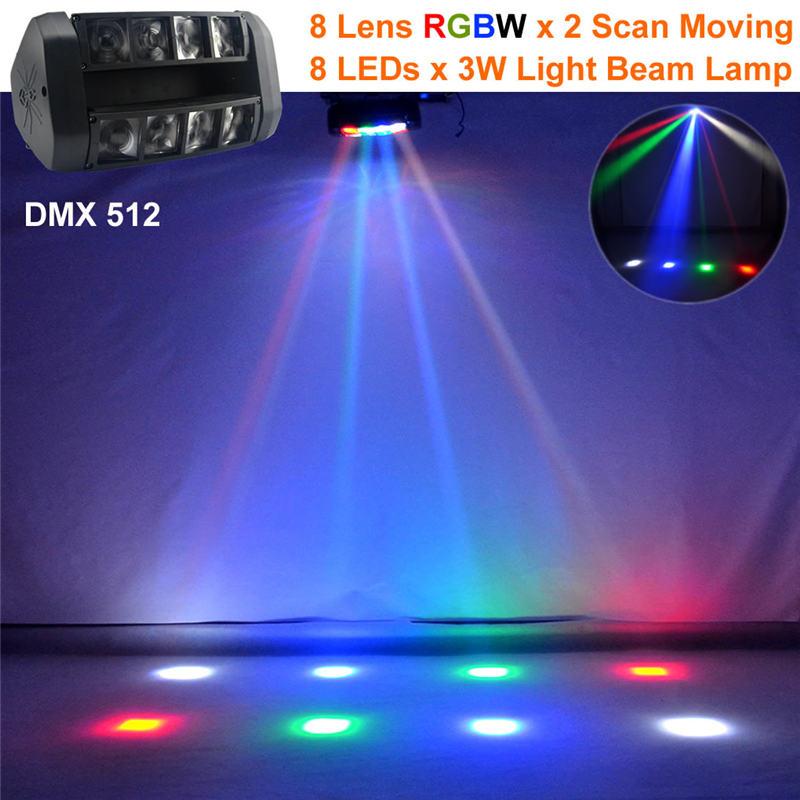 AUCD 24W 8 têtes RGBW LED effet de mélange araignée secouer lampe DMX DJ maison fête Club spectacle faisceau projecteur scène éclairage mobile LE117