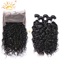 Preplucked Peruvian Virgin Hair Water Wave 360 Frontal With Bundles 22.5*4*2 with Adjustable Straps 2Bundles with 360 Frontal