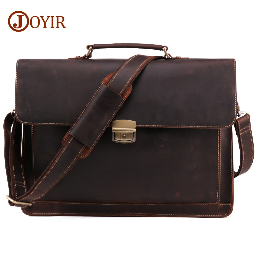JOYIR Crazy Horse Genuine Leather Men's Briefcase Vintage Messenger Shoulder Bag Men's Business Laptop Handbag For Male 6393