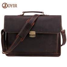 JOYIR Crazy Horse Genuine Leather Mens Briefcase Vintage Messenger Shoulder Bag Business Laptop Handbag For Male 6393