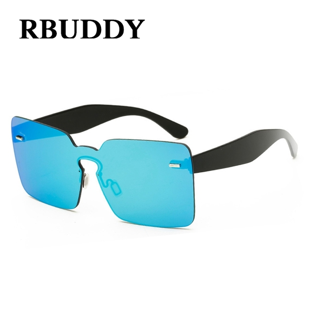 RBUDDY Oversize Women Sunglasses Rimless Yellow Pink Transparent Frame Lens Sun Glasses Summer Shades Big Size Clear Men Glasses
