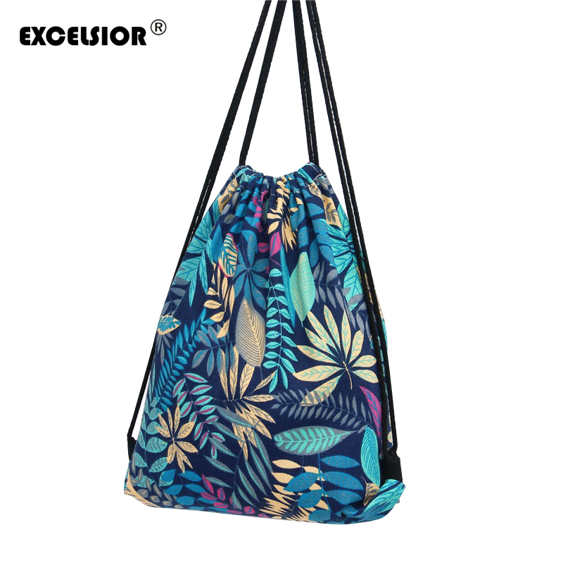 EXCELSIOR Flower Printed Canvas Drawstring Bag Women Mochila Bucket Travel School Backpack Casual Sack Pack Shoulder Bags