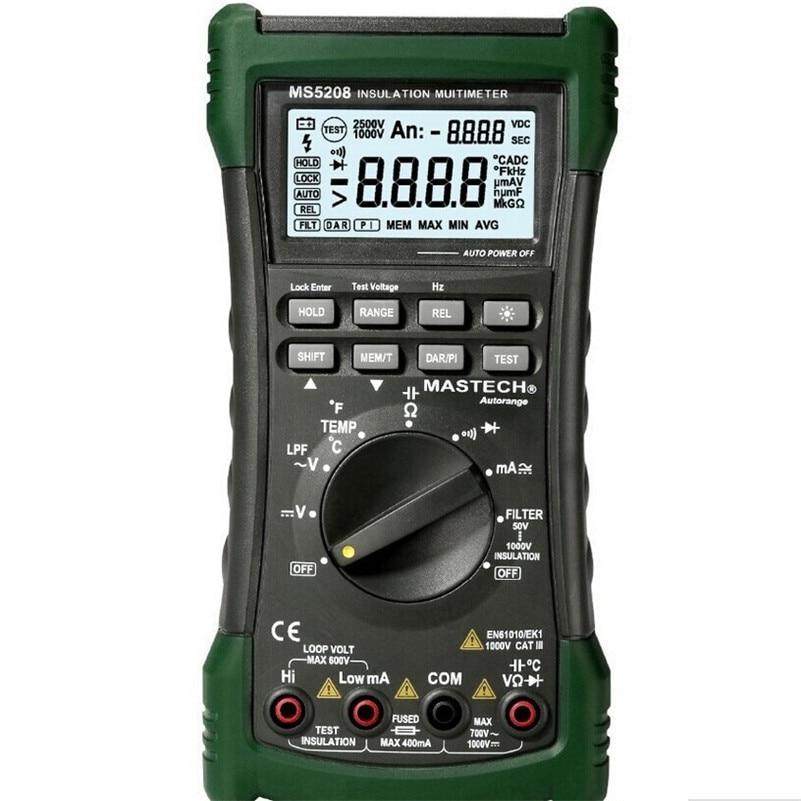 MASTECH MS5208 6600 compte testeur d'isolation multimètre numérique véritable RMS compteur de température de courant de tension ca